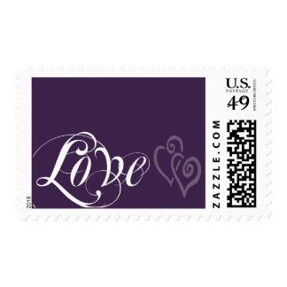 Dark Purple White Love Script Two Hearts Postage