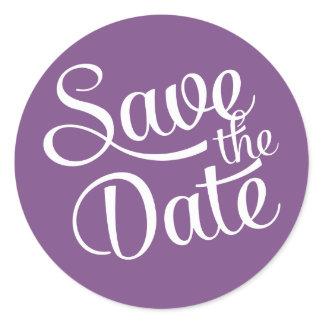 Dark Purple White Script Save the Date Classic Round Sticker