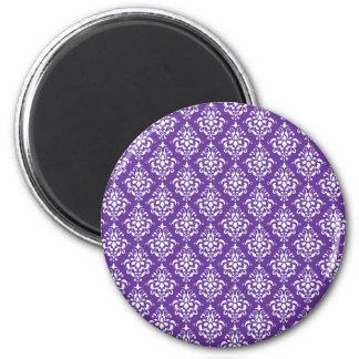 Dark Purple White Vintage Damask Pattern 1 2 Inch Round Magnet