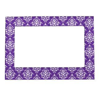 Dark Purple White Vintage Damask Pattern 1 Picture Frame Magnet