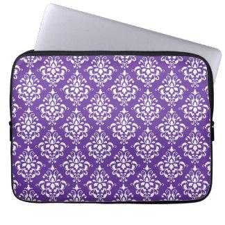 Dark Purple White Vintage Damask Pattern Computer Sleeve