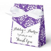 Dark Purple White Vintage Damask Pattern Favor Box