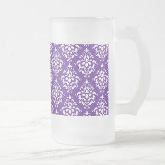 Dark Purple White Vintage Damask Pattern Frosted Glass Beer Mug