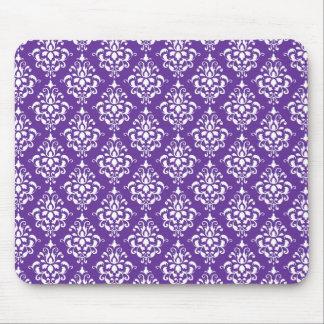 Dark Purple White Vintage Damask Pattern Mouse Pad