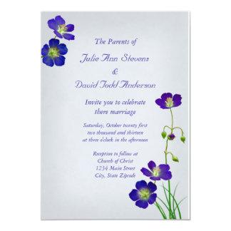 Dark Purple Wildflowers on Lavender Wedding Card