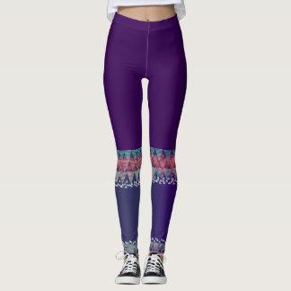 Dark Purple with Aztec Design>Colorful Leggings