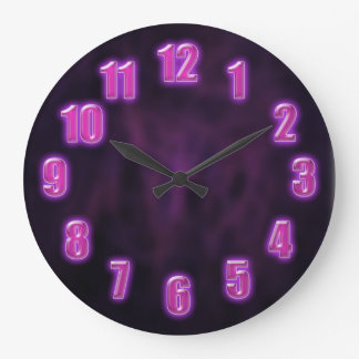 Dark purple with glowing neon numbers round wallclocks