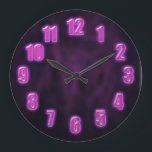 """Dark purple with glowing neon numbers large clock<br><div class=""""desc"""">Original - by YANKAdesigns! (The numbers doesn&#39;t really glow in the dark,  they only look like glowing)</div>"""