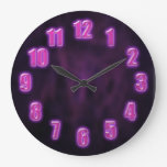 Dark purple with glowing neon numbers large clock