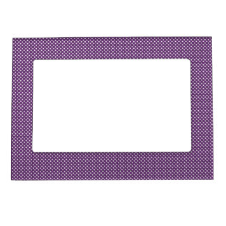 Dark Purple With Simple White Dots Magnetic Picture Frames