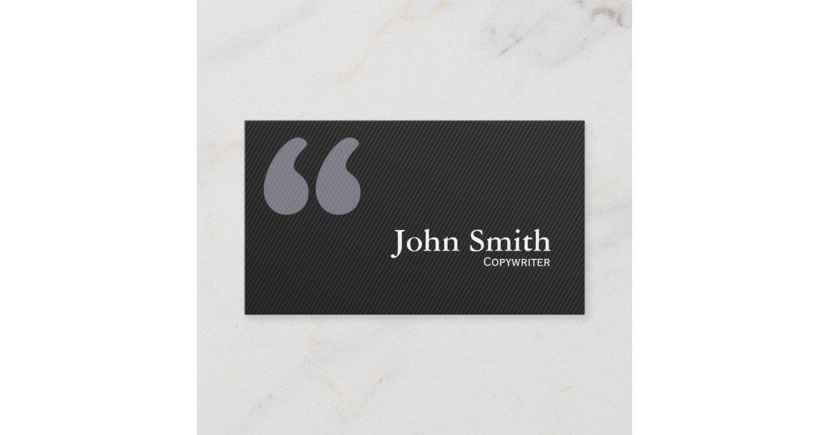 Dark Quotation Marks Copywriter Business Card   Zazzle.com
