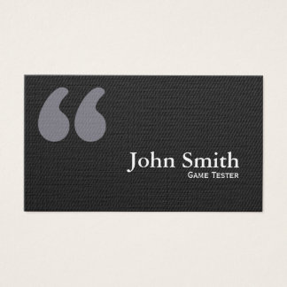 Dark Quote Marks Game Testing Business Card