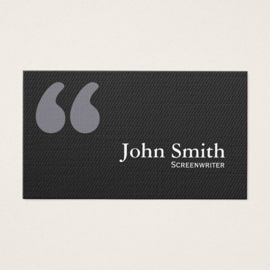 Dark Quote Marks Screenwriter Business Card