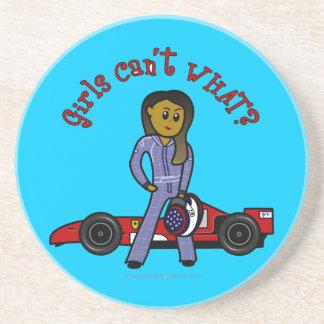 Dark Race Car Driver Drink Coaster