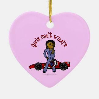 Dark Race Car Driver Girl Ceramic Ornament