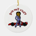 Dark Race Car Driver Girl Christmas Tree Ornaments