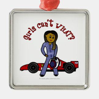 Dark Race Car Driver Girl Metal Ornament