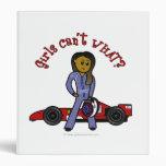 Dark Race Car Driver Girl Vinyl Binder