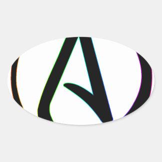 Dark Rainbow Atheist Oval Sticker