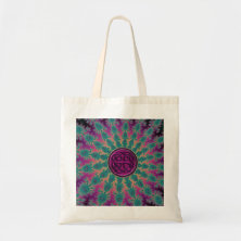 Dark Rainbow Fractal Mandala Celtic Knot Tote Bag