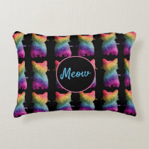 Dark Rainbow Glitter Cats Design Accent Pillow