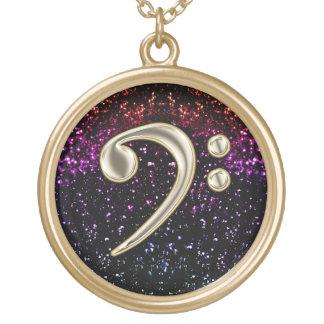 Dark Rainbow Glitter Music Bass Clef Necklace