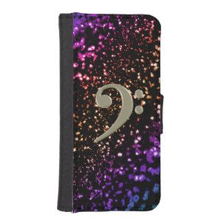 Dark Rainbow Glitter Music Bass Clef Phone Wallet