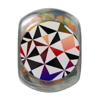 Dark Rainbow Triangle Design Glass Candy Jar