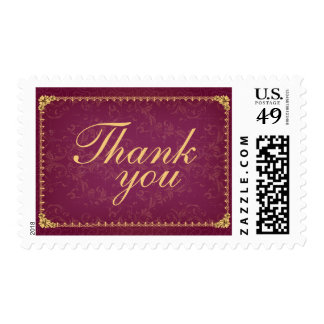 Dark raspberry and gold elegant thank you stamps