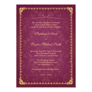 Dark raspberry and gold elegant wedding invitation 5