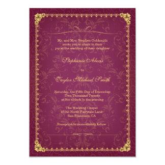 Dark raspberry and gold elegant wedding invitation