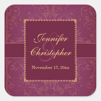 Dark raspberry & gold personalized wedding sticker