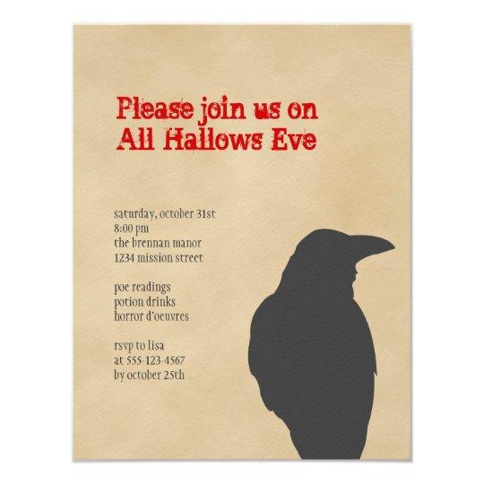 Dark raven bird brown parchment Halloween party Card