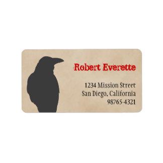 Dark raven bird silhouette Halloween address Label