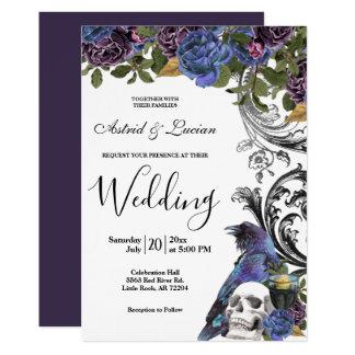 Dark Raven & Skull Gothic Wedding Invitation
