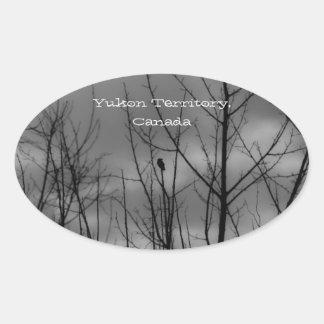 Dark Raven; Yukon Territory Souvenir Oval Sticker