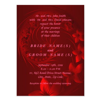 Dark Red Abstract Flowers Card