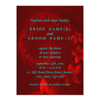 Dark Red Abstract Flowers 6.5x8.75 Paper Invitation Card