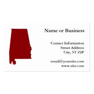 Dark Red Alabama Shape Business Card Templates