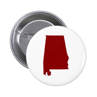 Dark Red Alabama Shape Pinback Button