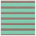 [ Thumbnail: Dark Red and Aquamarine Striped/Lined Pattern Fabric ]