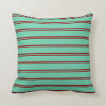 [ Thumbnail: Dark Red and Aquamarine Striped/Lined Pattern Throw Pillow ]