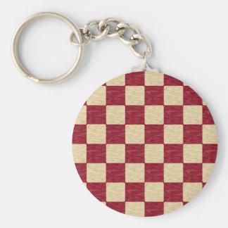 Dark Red and Beige Checkered Keychain