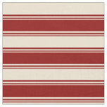 [ Thumbnail: Dark Red and Beige Colored Stripes Pattern Fabric ]