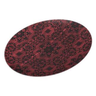 Dark red and black gothic grunge geometric dinner plates