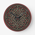 Dark Red and Black Metallic Celtic Knot Round Wall Clock