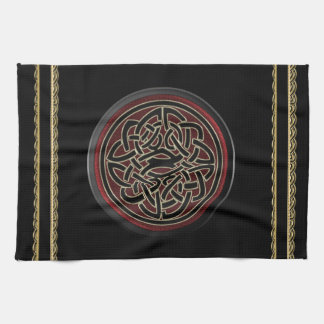 Dark Red and Black Metallic Celtic Knot Hand Towels
