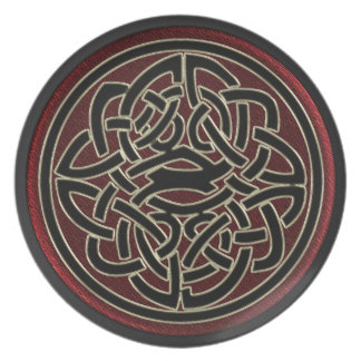 Dark Red and Black Metallic Celtic Knot Plate