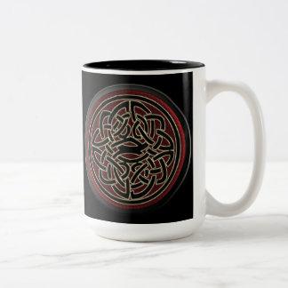 Dark Red and Black Metallic Celtic Knot Two-Tone Coffee Mug