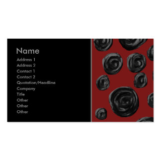 Dark red and black rose pattern. Double-Sided standard business cards (Pack of 100)